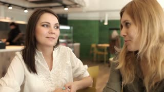 Two Young Female Friends Enjoying a Conversation in Cafe