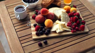 useful fresh breakfast of fruits on the terrace