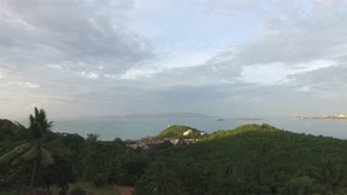 View of a tropical island and ocean and sky