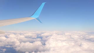 wing of an airplane and a cloud