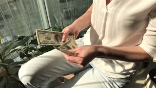 Woman Counts Money Bills, Only Hands. Slow Motion