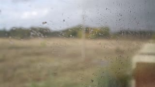 View From the Train Window in the Rain