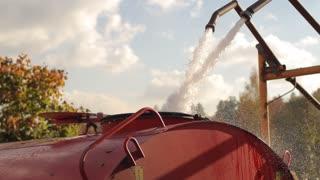 Water is Taken in Cistern Car
