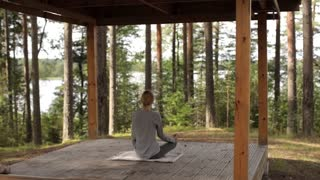 Woman Practicing Yoga in a Pavilion in the Woods