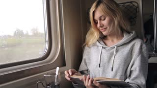 Woman Reading a Book While Sitting at a Window in a Train