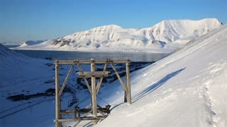 An old abandoned coal mine and coal ropeway in the town of Longyearbyen, Svalbard.