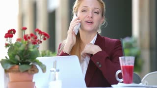 Business lunch. Young attractive woman sitting at the table of the restaurant, talking on the phone and uses laptop.