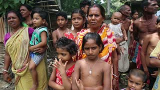 EAST BENGAL, INDIA - JUNE 18, 2015: residents of a small poor village in the jungle on the border of India and Bangladesh.