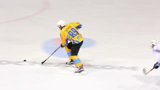 Great Shot On Goal! Forward Drives Towards Goal And Scores!