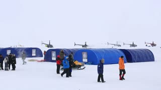 "ICE CAMP ""BARNEO"", NORTH POLE, ARCTIC - APRIL 10, 2015: Life in the research and tourist camp at the North Pole."