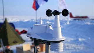 "ICE CAMP ""BARNEO"", NORTH POLE, ARCTIC - APRIL 10, 2015: The anemometer measures wind speed in the Arctic polar station."