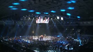 KIEV, UKRAINE - MARCH 18, 2013: Fight Vyacheslav Uzelkov with Doudou Ngumbu in Kiev.