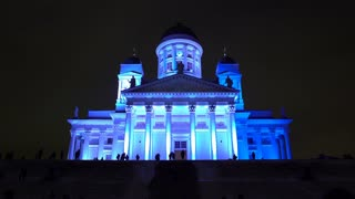 Light Installation on the Facade of the Cathedral of Helsinki. Festival of Light Lux Helsinki.