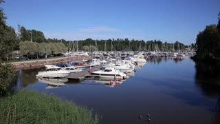 Many boats in the marina on the southern coast of Finland.
