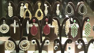 MOSCOW, RUSSIA - DECEMBER 07, 2014: Jewels in the jewelry store.