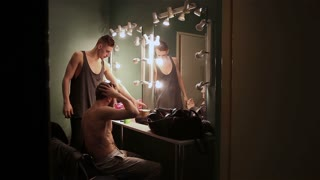 MOSCOW, RUSSIA - DECEMBER 09, 2014: Actors Theatre of Contemporary Dance preparing for the play in the dressing room.