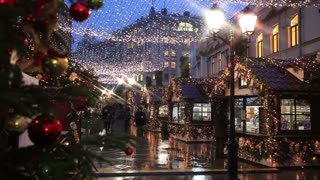MOSCOW, RUSSIA - DECEMBER 16, 2014: The streets of the city on the eve of Christmas. Set of holiday lights, garlands, decorations and street vendors