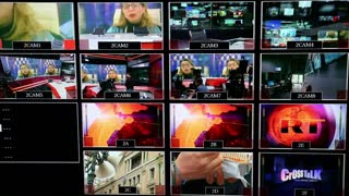 MOSCOW, RUSSIA - FEBRUARY 11, 2015: Monitors in the studio TV channel.
