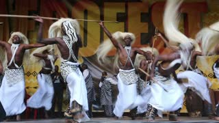 "MOSCOW, RUSSIA - JUNE 06, 2015: Men from Rwanda perform traditional African dance during the International Festival of African culture ""AFROFEST."""