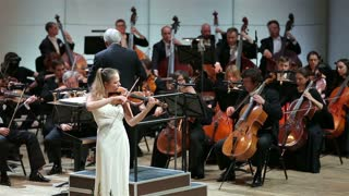 MOSCOW, RUSSIA - JUNE 28, 2015: Symphonic Concerto for Violin and Orchestra in the Tchaikovsky Hall, Moscow.