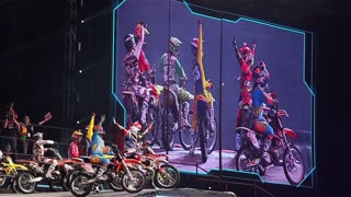 "MOSCOW, RUSSIA - MARCH 14, 2015: Athletes motorcyclists welcome the audience. International Festival of Extreme Sports ""Breakthrough 2015"""