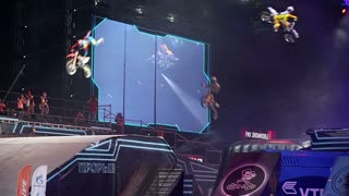 """MOSCOW, RUSSIA - MARCH 14, 2015: Big crazy moto show. Extreme Sport Motocross FMX Riders Big Jump. International Festival of Extreme Sports """"Breakthrough 2015""""."""