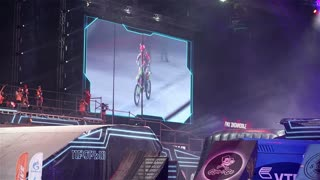 "MOSCOW, RUSSIA - MARCH 14, 2015: Big crazy moto show. Extreme Sport Motocross FMX Riders Big Jump, slow motion. International Festival of Extreme Sports ""Breakthrough 2015""."