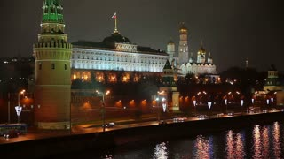 MOSCOW, RUSSIA - OCTOBER 29, 2014: View of the Kremlin and the Kremlin Embankment by the Moscow River at night.