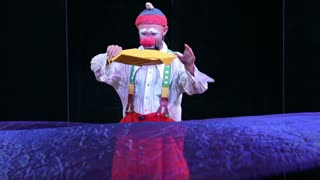 MOSCOW, RUSSIA - SEPTEMBER 12, 2015: Clown performance on the stage. Festival of clown art Clownfest in Sokolniki Park.