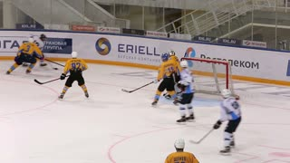 Scoring Opportunity And Roughing The Gates Of The Enemy. Ice Hockey Match