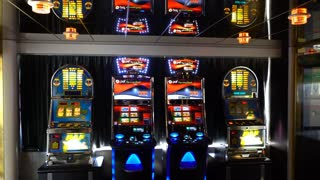 Slot machines in casinos.