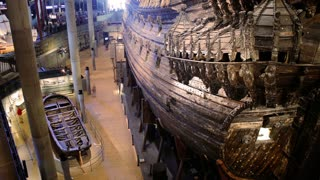 STOCKHOLM, SWEDEN - MAY 01, 2016: Lots of tourists to the interior of the Maritime Vasa Museum in Stockholm. Time Lapse.