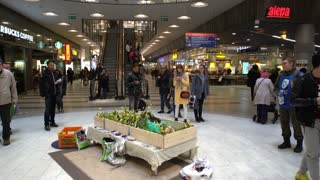 HELSINKI, FINLAND - APRIL 11, 2017: Art Performance of the Human Garden. A young nude person invites everyone to get away from the city's bustle and plant flowers on his body