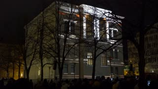 HELSINKI, FINLAND - JAN 07, 2018: Dynamic Light Installation on the wall of Historical building during the public Festival of Light LUX