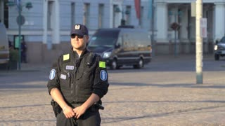 HELSINKI, FINLAND - JULY 16, 2018: Meeting trump and Putin in Helsinki. Security measures. Riot police monitoring protests against the meeting between Trump and Putin
