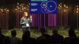 HELSINKI, FINLAND - NOVEMBER 30, 2017: Young successful businessmen present their business ideas. Startup and tech event Slush in Messukeskus Expo center. Non-profit event for entrepreneurs, investors