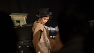 "JYVASKYLA, FINLAND - AUGUST 17, 2018: Actress Theater ""Variant"" presents on stage a play ""Treklyataya"" during the international theatre festival ""Art-Workshop"""