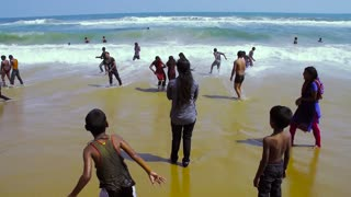 Indian Crowd Tourist Enjoying On Popular Beach One Of The Most Famous Indian Beaches