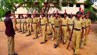 National Cadets Corps (NCC) Students Republic Day Parade preparation on chennai, India.
