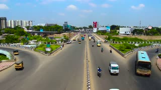 time-lapse shot on Cars, Motorbikes and Bus Passing Over Bridge in Chennai, India
