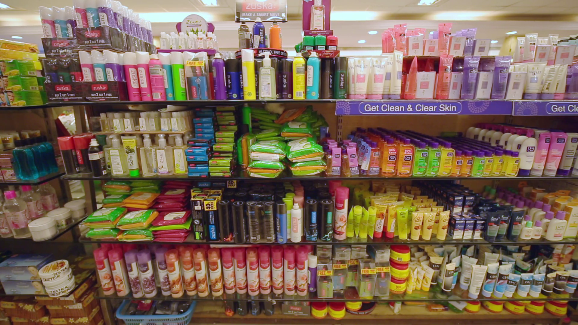 Variety of face care cosmetic products on the supermarket shelf. Stock  Video Footage - Storyblocks