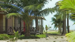 Bungalows and tropical palm trees in a slight breeze on sandy beach