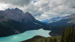 4k time lapse zoom out shot of beautiful Peyto Lake in the Canadian Rockies of Banff National Park, Alberta, Canada