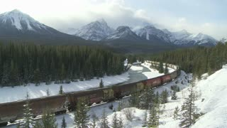 A Freight Train in the Rocky Mountains of Canada