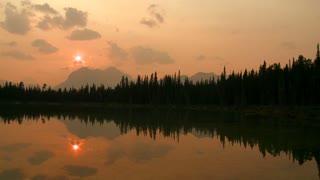 Buller Lake at sunset, pan across, Alberta, Canada