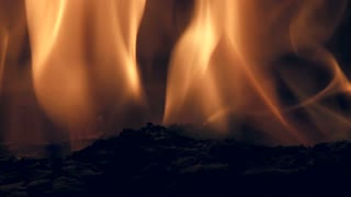 Flames in a fireplace, close up 01