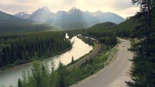 Freight train, Bow River and Highway near Banff, Canadian Rockies