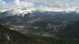 High altitude view and time lapse of Banff, Alberta, Canada