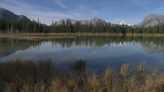 Pan across Buller Lake, Canadian Rockies, Alberta, Canada