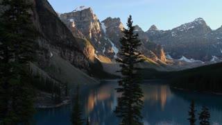 Pan shot of Evening Light on Moraine Lake, Banff, Alberta